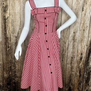 Hell Bunny Vixen Gingham Pin-up Picnic Dress NWT